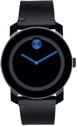 Movado Bold Bold Black Steel and Leather Analog Watch