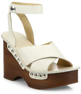 Rag & Bone Women's Hester Leather Ankle-Strap Wedge Clog Sandals