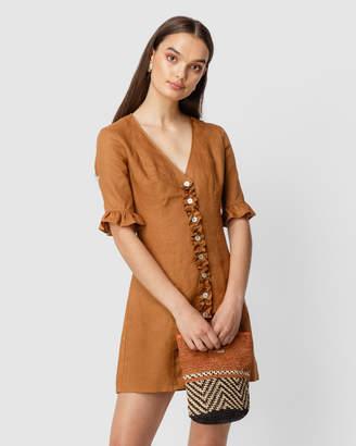 Flor La Linen Ruffle Mini Dress