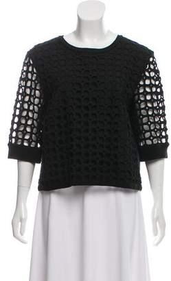 Lela Rose Crochet Overlay Wool Top