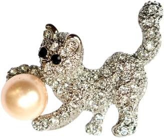 Crystal Pearl Navachi 18k Gold Plated Clear Cat Brooch Pin