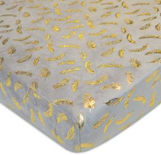 T.L.Care Tl Care TL Care Metallic Feathers Chenille Fitted Crib Sheet