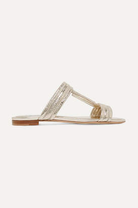 Tod's Metallic Textured-leather Slides - Gold