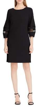 Ralph Lauren Lace-Trim Crepe Shift Dress