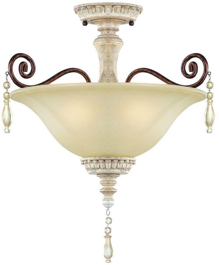 Millennium Lighting 3-Light Antique White/Bronze Semi Flush Mount