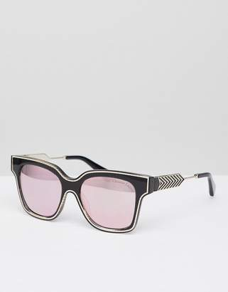 Christian Lacroix Christian La Croix Square Sunglasses In Black With Rose Gold Lens