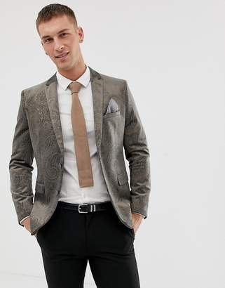 Harry Brown Dove Gray velvet And Gold Embossed Skinny Fit Suit Jacket