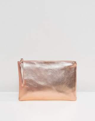 South Beach Rose Gold Metallic Clutch Bag
