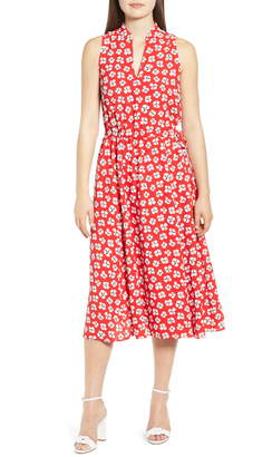 Anne Klein Zuma Petal Split Neck Midi Dress