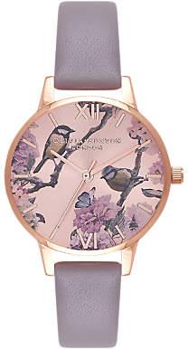 Olivia Burton OB16PL36 Women's Pretty Blossom Leather Strap Watch, Grey/Rose