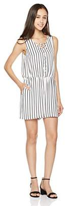 Peace Love Maxi Women's Sleeveless Black and White Stripe Romper