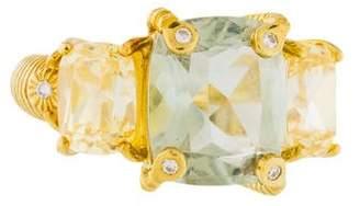 Judith Ripka 18K Crystal, Prasiolite & Diamond Cocktail Ring