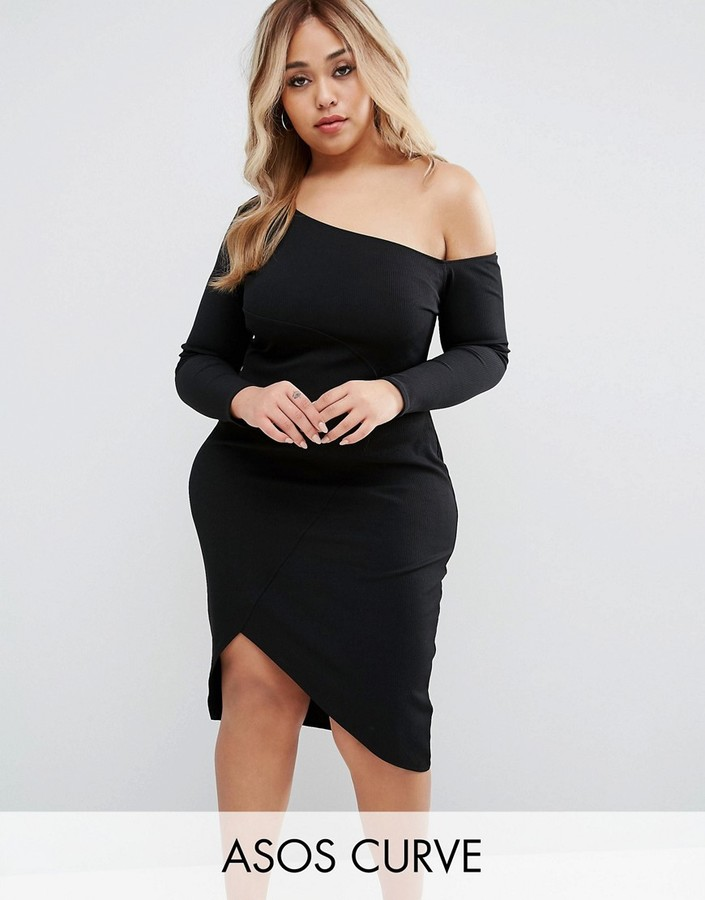 ASOS Curve ASOS CURVE Rib Long Sleeved Off the Shoulder Midi Dress