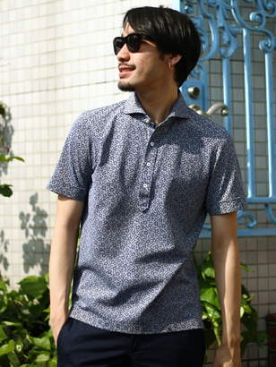 Men's Bigi (メンズ ビギ) - ESSENTIAL GARMENT MEN'S BIGI カノコ素材ポロシャツ/フラワープリント (日本製) メンズ ビギ カットソー