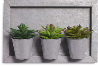 Faux Succulents Galvanized Wall Decor