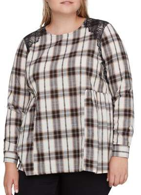 Junarose Plus Plaid Cotton Blouse