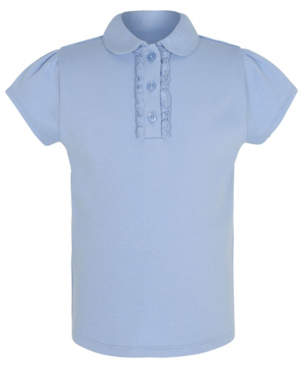George Girls Light Blue Ruffle Front School Polo