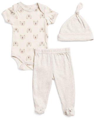 Newborn Gender Neutral 3pc Bear Bodysuit & Pant Set With Hat