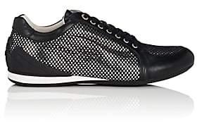 Emporio Armani Men's Mesh-Layered Leather Sneakers-Black, Slvr Size 11.5 M