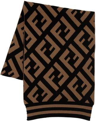 Fendi Logo Stretch Wool Knit Scarf
