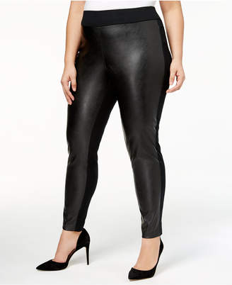 INC International Concepts I.n.c. Plus Size Faux-Leather Front Skinny Pants