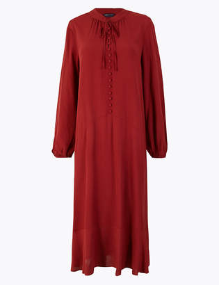 Marks and Spencer Button Detail Midi Relaxed Dress