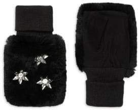 Glamour Puss Glamourpuss Rabbit Fur Jeweled Mittens