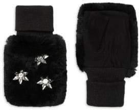 Glamour Puss Glamourpuss Rabbit Fur Jeweled Mittens