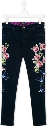 John Richmond Junior flower embroidered jeans