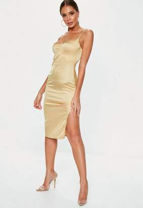 Missguided Gold Satin Bust Cup Midi Dress