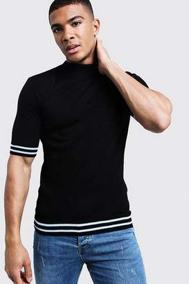 boohoo Muscle Fit Turtle Neck Stripe Detail Knitted Tee