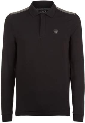 Giorgio Armani Ea7 Striped Shoulder Long Sleeve Polo Shirt