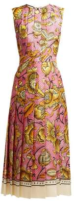 Gucci Alsacienne Pleated Silk Twill Midi Dress - Womens - Pink Multi