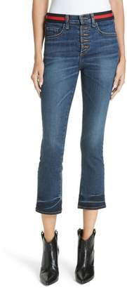 Veronica Beard Carolyn Stripe Waistband Baby Boot Jeans