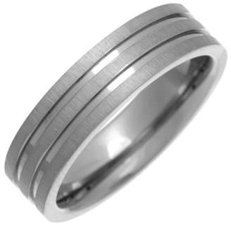 Theia Titanium Flat Court Shape Matt with Two Polished Grooves 6mm Ring - Size T