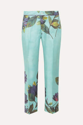 F.R.S For Restless Sleepers Ceo Cropped Floral-print Silk-twill Straight-leg Pants - Mint