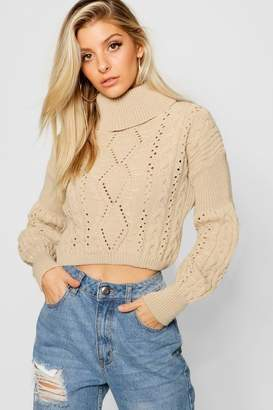 boohoo Cropped Roll Neck Knitted Cable Jumper