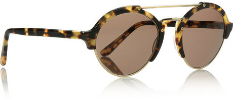 Illesteva Milan II round-frame acetate and metal sunglasses