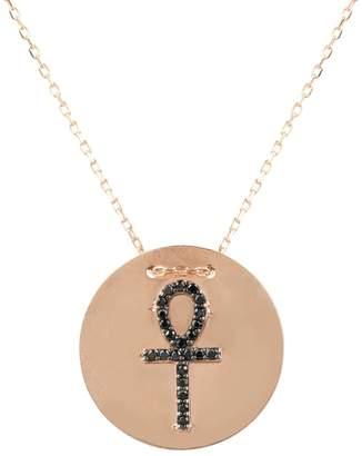 Rosegold Latelita - Ankh Disc Necklace Black