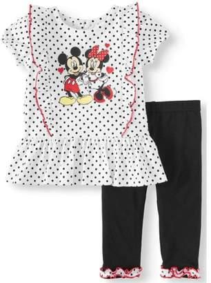 Minnie Mouse Short Sleeve Ruffle Tunic Top   Leggings 67a1890b6