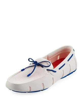 Swims Mesh & Rubber Braided-Lace Boat Shoe, White/Royal $159 thestylecure.com