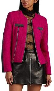 Alexander Wang Women's Wool Tweed & Leather Moto Jacket - Md. Pink