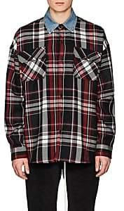 Fear Of God Men's Denim-Collar Plaid Wool Flannel Shirt - Red
