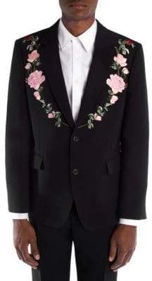 Alexander McQueen Rose Embroidered Jacket