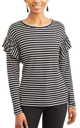 Time and Tru Women's Long Sleeve Ruffle T-Shirt