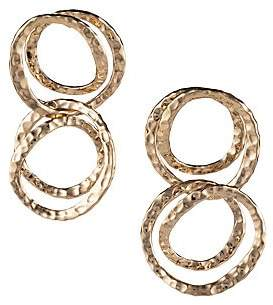 Alexis Bittar 10K Yellow Gold Hammered Coil Link Dangling Post Earrings