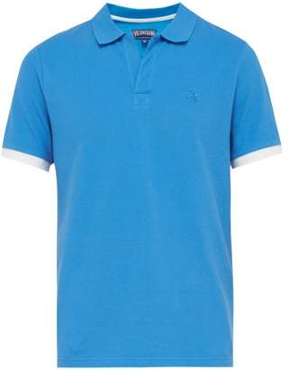 Vilebrequin Logo Embroidered Cotton Pique Polo Shirt - Mens - Blue