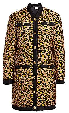 Gucci Women's Disco Leopard-Print Long Puffer Coat
