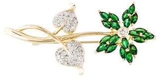 14K Tsavorite Garnet & Diamond Floral Brooch