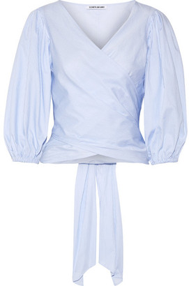 Elizabeth and James - Farrah Striped Cotton-poplin Wrap Top - Sky blue $295 thestylecure.com
